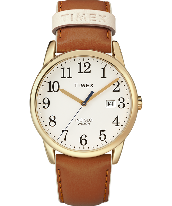 Easy Reader Color Pop 38mm Leather Watch Womens Gold-Tone/Tan/Cream large