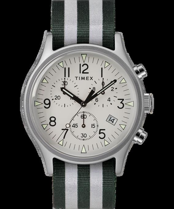 MK1 Aluminum Chrono 40mm Reflective Nylon Strap Watch Silver-Tone/Green large