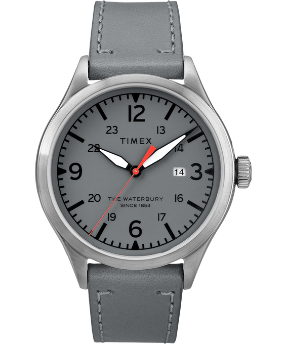 Waterbury Traditional 3 Hand Date 40mm Leather Watch Stainless-Steel/Gray large