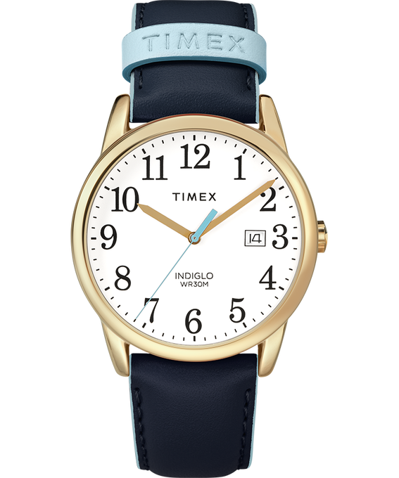 Easy Reader Color Pop 38mm Leather Watch Womens Gold-Tone/Blue/White large