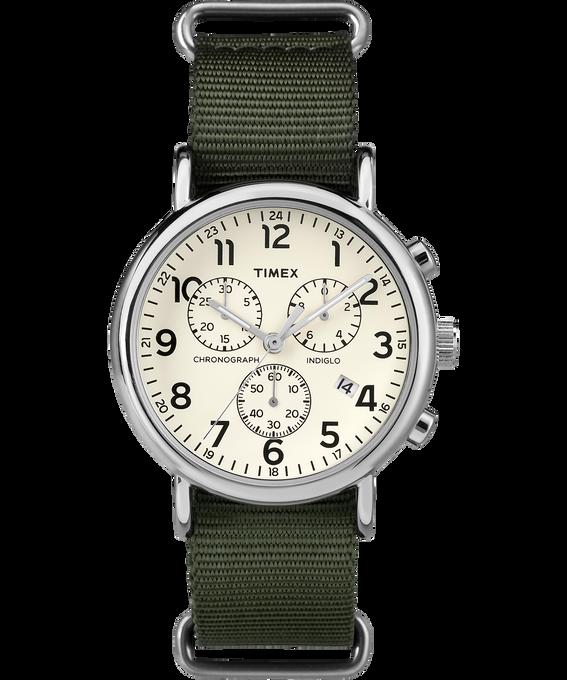 Weekender Chrono 40mm Nylon Strap Watch Silver-Tone/Green/Cream large