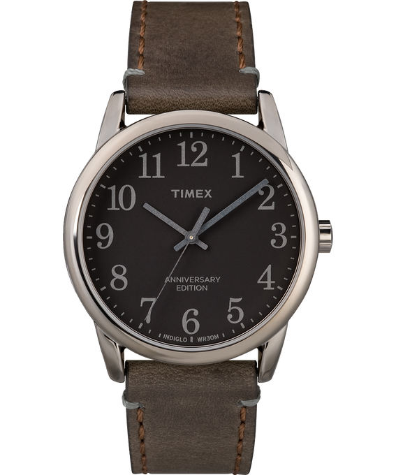 Easy Reader 40th Anniversary Special Edition 38mm Leather Watch Gunmetal/Brown/Black large