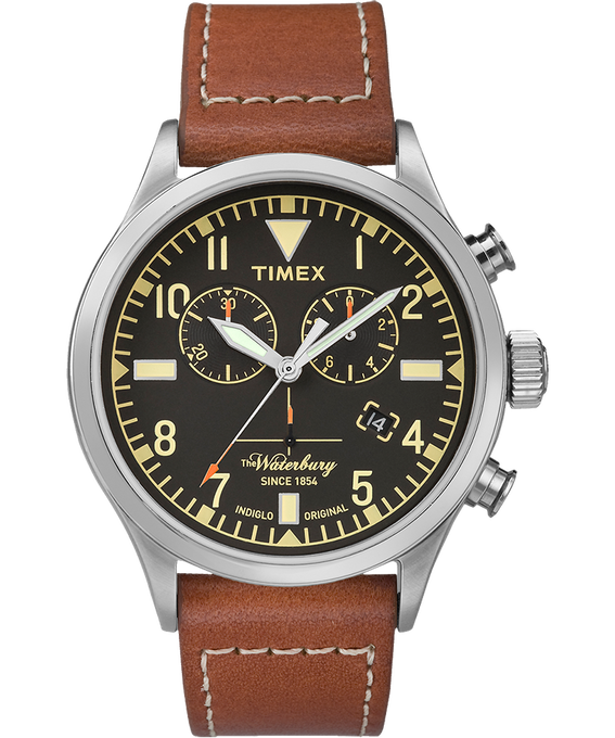Waterbury Traditional Chronograph 42mm Leather Watch Stainless-Steel/Brown/Black large