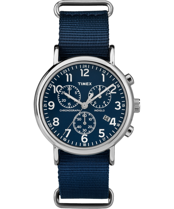 Weekender Chrono 40mm Nylon Strap Watch Silver-Tone/Blue large