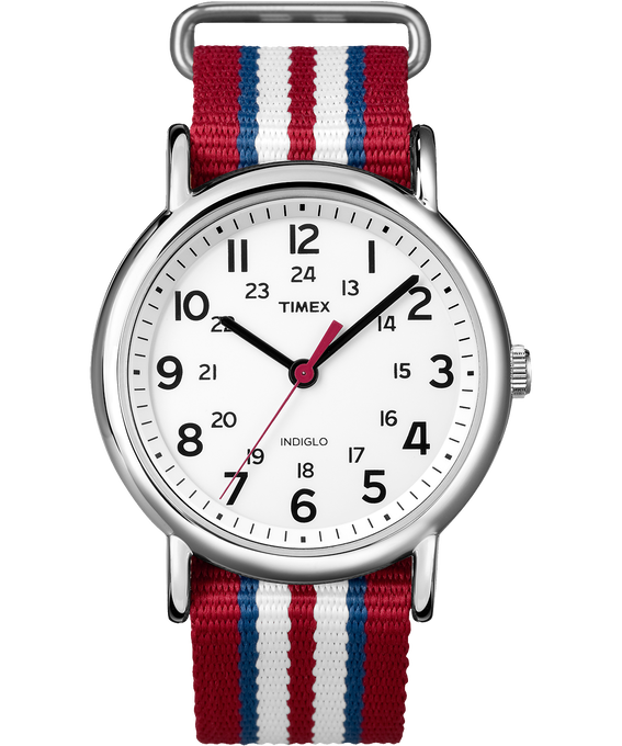 Weekender Stripe 38mm Nylon Strap Watch Chrome/Red/White large
