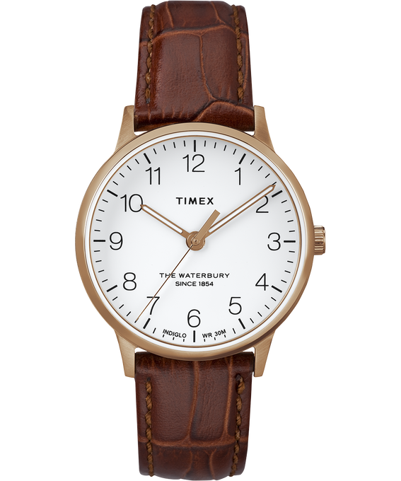 Waterbury 36mm Classic Leather Strap Watch Rose-Gold-Tone/Brown/White large