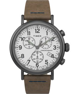 Standard Chronograph 40 mm con cinturino in pelle Gunmetal/Brown/White large
