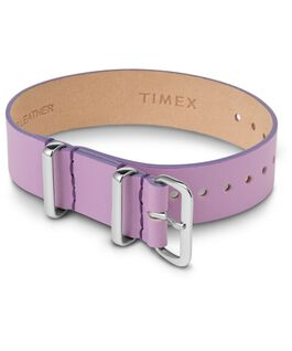 16mm Leather Single Layer Slip Thru Strap with Silver Purple large