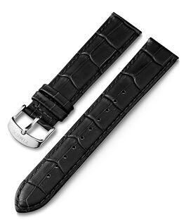 Cinturino in pelle quick-release stampa coccodrillo da 20 mm Nero large