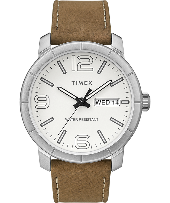 Mod44 44mm Leather Watch Chrome/Tan/White large