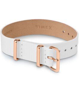 Cinturino a scorrimento in pelle strato singolo da 16mm tonalità oro rosa Bianco large