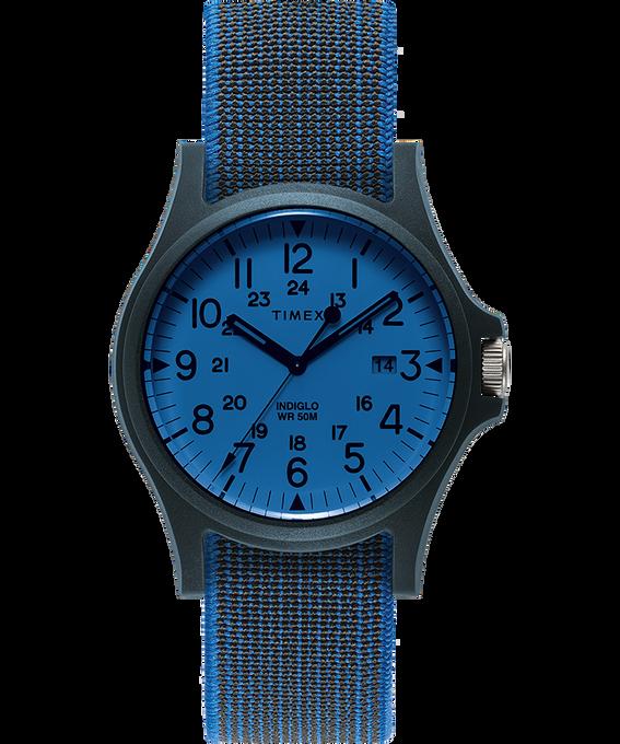 Acadia 40mm Elastic Fabric Strap Watch Blue/White large
