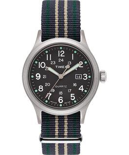 Allied 40 mm con cinturino in tessuto e indici a punto Silver/Verde large