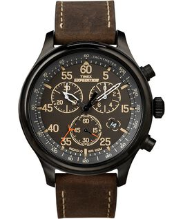 Expedition Field Chronograph 43mm Leather Watch Black/Brown large