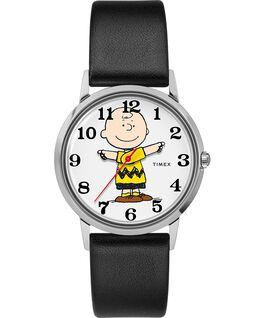 Orologio Timex x Peanuts in esclusiva per Todd Snyder Charlie Brown da 34mm con cinturino in pelle Acciaio inossidabile/Nero/Grigio large