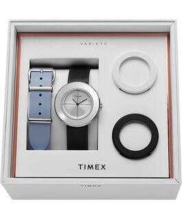 Cofanetto orologio Variety™ da 34mm con cinturino in pelle Silver/Nero large