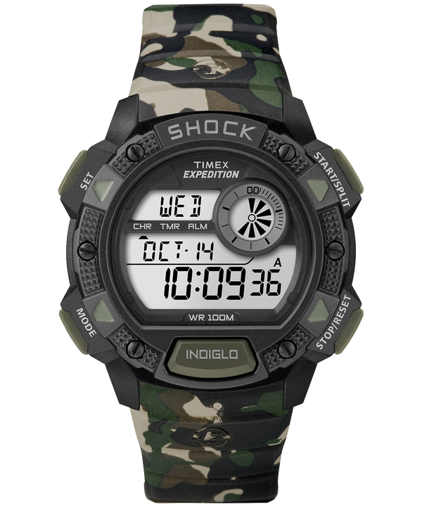 Expedition Base Shock 45 mm con cinturino in resina Camo large