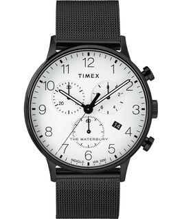 Cronografo classico Waterbury 40 mm con bracciale in maglia mesh Nero/Bianco large