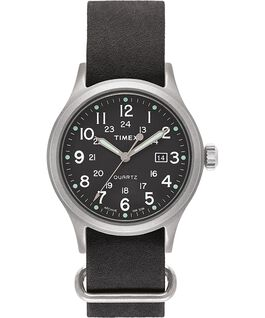 Allied 40 mm con cinturino in pelle stonewashed  Silver/Nero/Verde large