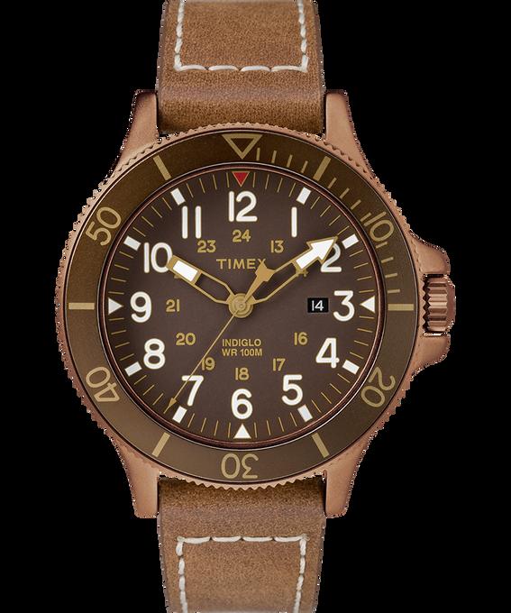 Allied Coastline 43mm Leather Watch Bronze-Tone/Brown large