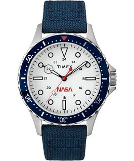 Navi XL Featuring NASA on the Dial 41mm Fabric Strap Watch Stainless-Steel/Blue/White large