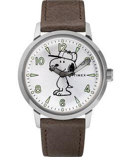 Welton con Snoopy 40 mm con cinturino in pelle Acciaio inossidabile/Marrone/Silver large