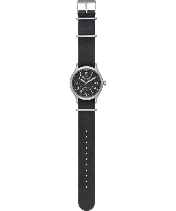 Orologio con cinturino in pelle delavata Allied 40mm Silver/Nero/Verde large
