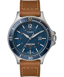Expedition Ranger Solar 43 mm con cinturino in pelle Silver/Miele/Blu large