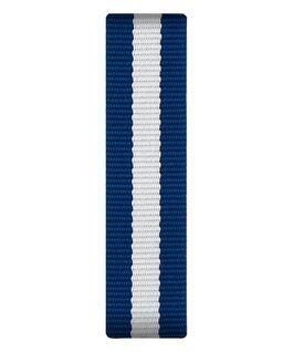 Cinturino a scorrimento in nylon blu e bianco  large