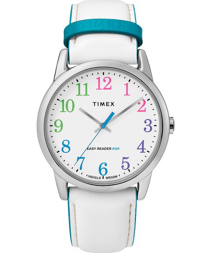 dc5c7a2d1 Easy Reader Color Pop 38mm Leather Strap Watch Silver-Tone/White large