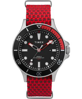 Allied Coastline 43 mm con cinturino in tessuto e ghiera girevole Silver-Tone/Red/Black large