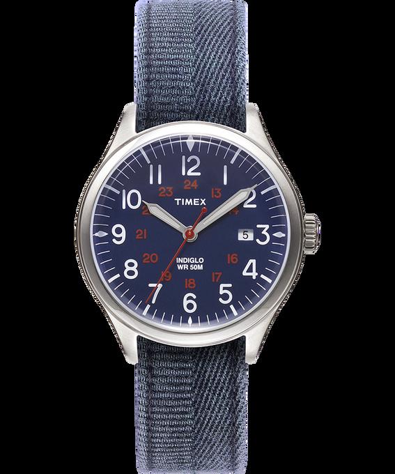 Orologio con cinturino in tessuto delavato Waterbury United 38mm Acciaio inossidabile/Blu large