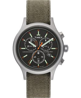 Allied Chronograph 42 mm con cinturino in tessuto stonewashed Silver/Verde/Nero large
