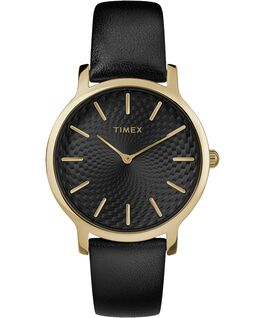 Metropolitan 34mm Leather Watch Gold-Tone/Black large