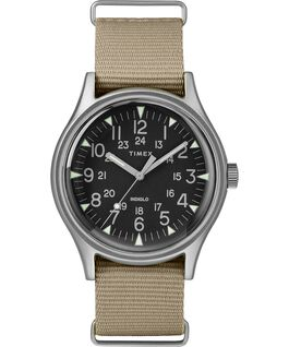 MK1 Aluminum 40mm Nylon Strap Watch Silver-Tone/Tan/Black large