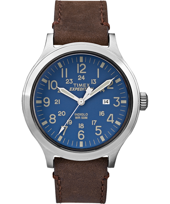 Expedition Scout 43mm Slip Thru Leather Watch Silver-Tone/Brown/Blue large