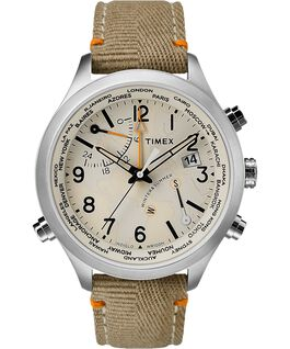 Waterbury World Time 43mm Fabric Strap Watch Stainless-Steel/Cream large