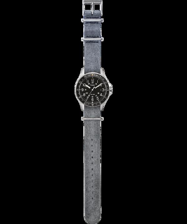 Orologio con cinturino in pelle delavata Navi Ocean 38mm Acciaio inossidabile/Grigio/Nero large