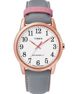 Easy Reader Color Pop 38mm Leather Strap Watch Rose-Gold-Tone/Gray/White large