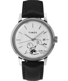 Orologio Timex x Peanuts Marlin Automatic 40 mm con Charlie Brown e cinturino in pelle Acciaio/Nero/Bianco large
