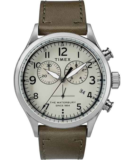 Chronograph Numbered Dial 42mm Leather Watch in Green - Front View