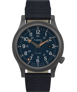 Allied LT 40mm Fabric Strap Watch Canna di fucile/Blu large
