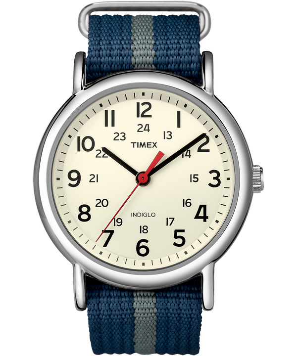 Weekender 38 mm con cinturino in nylon Silver-Tone/Blue/White large