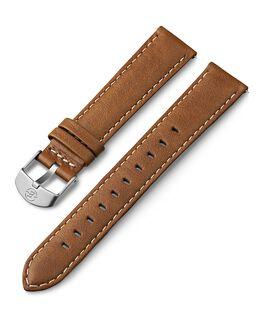 Cinturino in pelle da 18 mm con impunture bianche Cuoio large