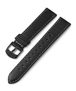 Cinturino in pelle da 18 mm con impunture bianche Nero large