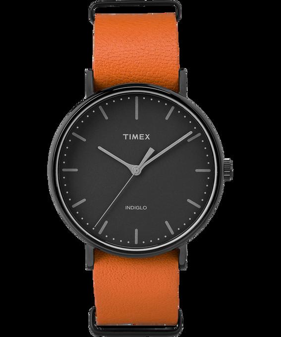 Fairfield 41mm Slip-Thru Leather Watch Black/Orange large