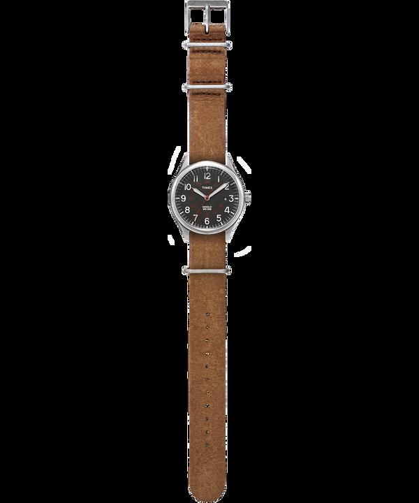 Orologio con cinturino in pelle delavata Waterbury United 38mm Silver/Marrone/Nero large
