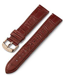 Cinturino in pelle quick-release stampa coccodrillo da 20 mm con fibbia tonalità oro rosa Marrone large
