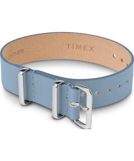 Cinturino a scorrimento in pelle strato singolo da 16mm argento Blu large