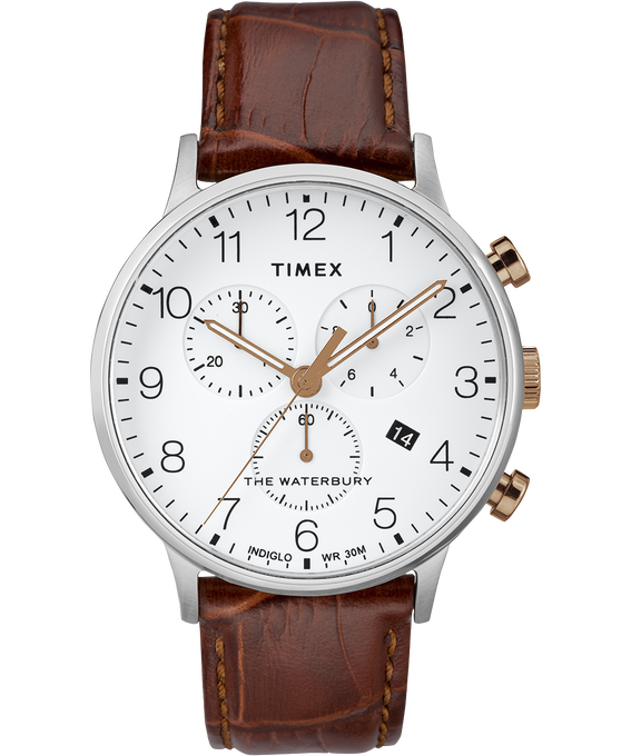 Waterbury-40mm-Classic-Chrono-Leather-Strap-Watch Stainless-Steel/Brown/White large